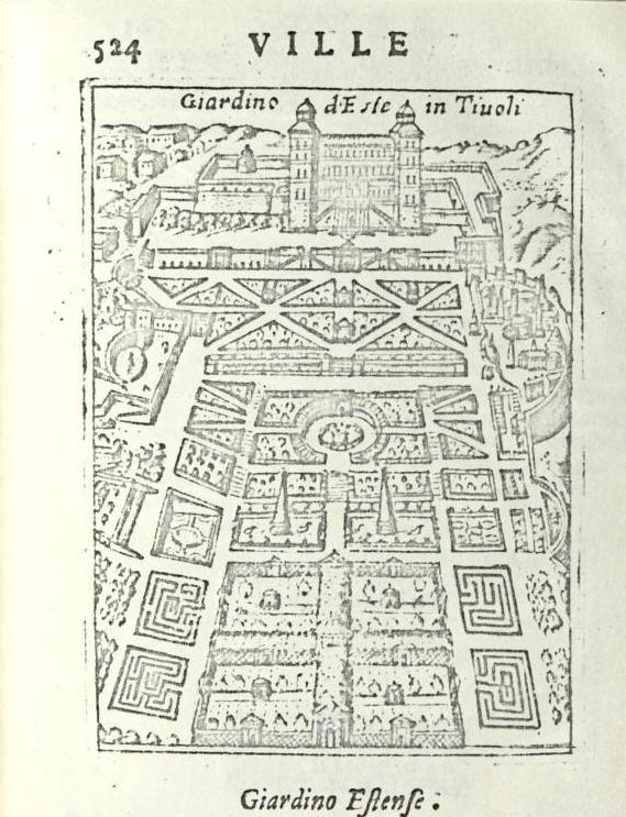 """Tivoli (Roma) - Villa d'Este - da """"Ritratto di Roma moderna..."""" di Pompilio Totti - Roma, 1638"""