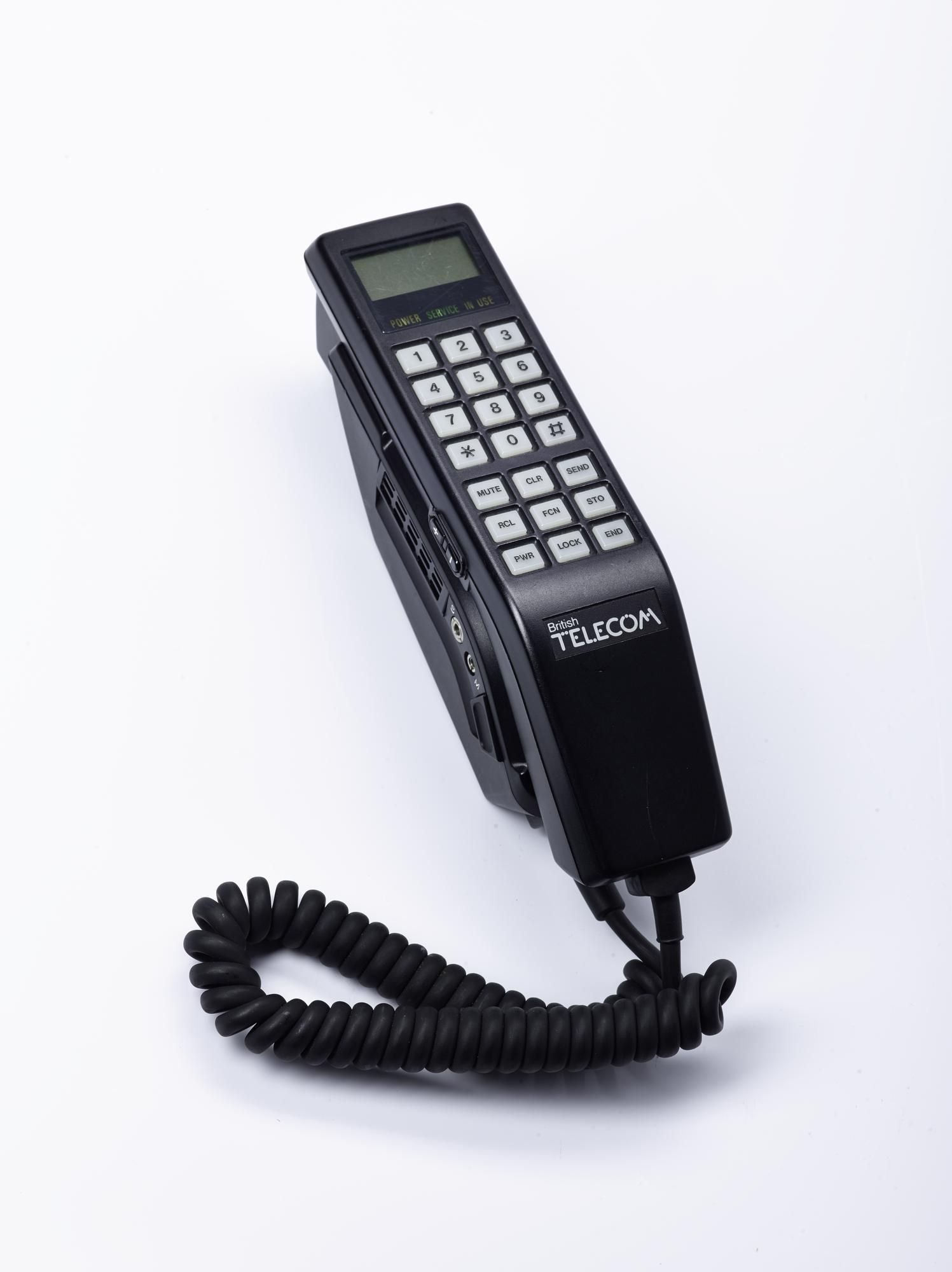BT car phone by NEC with cable, 1980s. Phone, Telephones