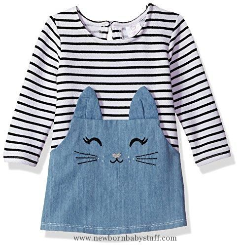 Photo of Baby Girl Clothes Youngland Baby Girls' Stripe Denim Cat Face Tunic Dress, D…