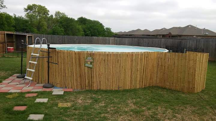 Roll Of Bamboo Wrapped Around Our Pool House Ideas In