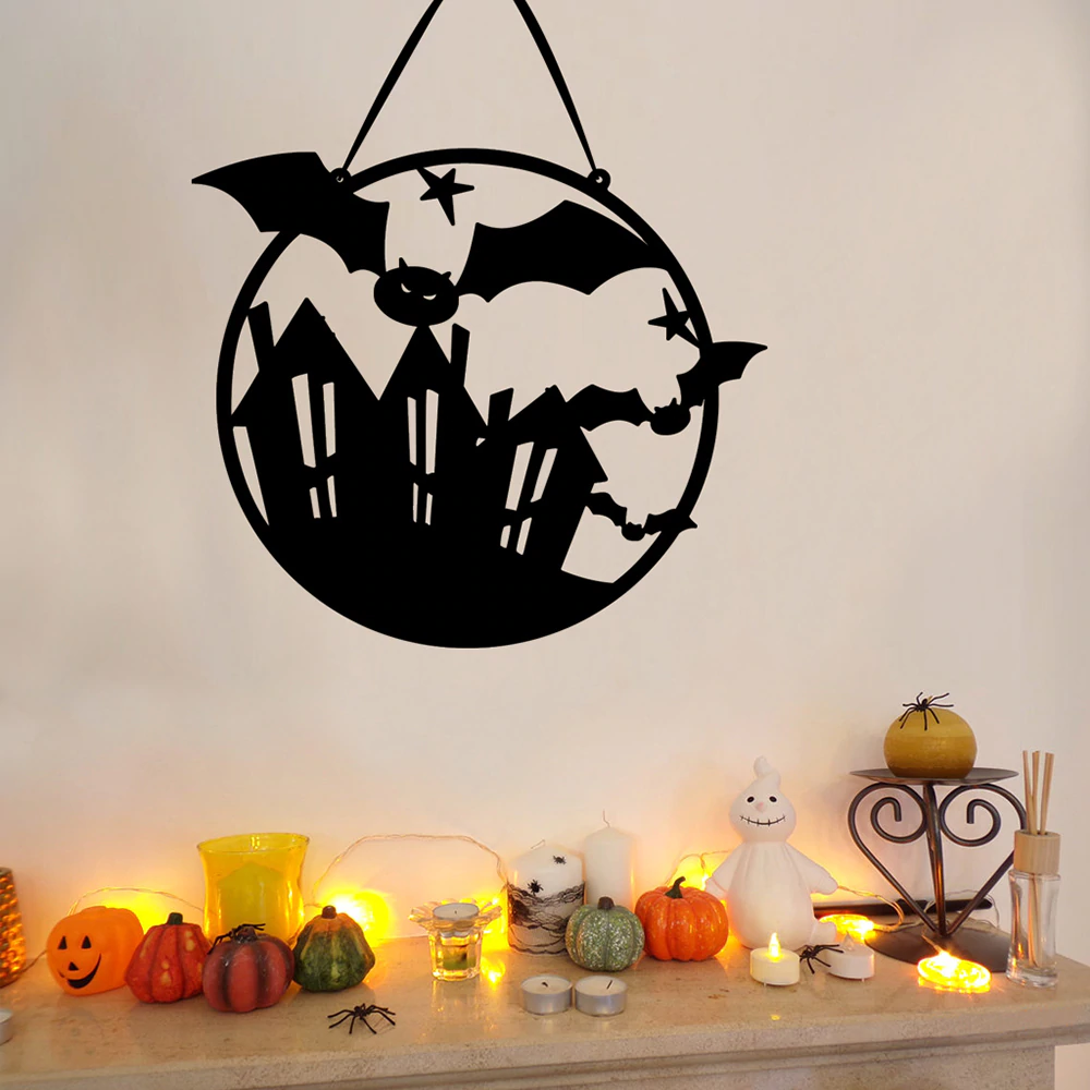Fête d'halloween bienvenue citrouille chauve souris décor