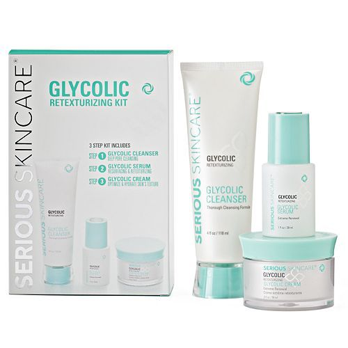 Serious Skincare Glycolic Retexturizing Kit Skin Care Cosmetic Packaging Design Hydrate Skin