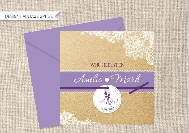 Hochzeitseinladung Vintage Lavendel von la papetina auf DaWanda