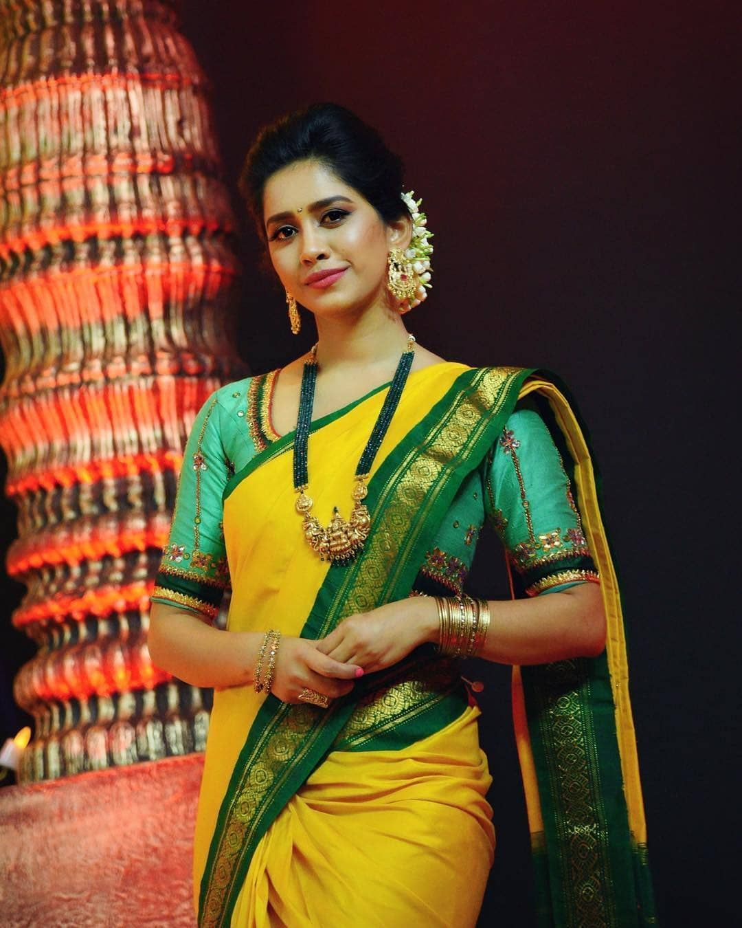 Yellow And Green Silk Saree With Emerald Jewelry