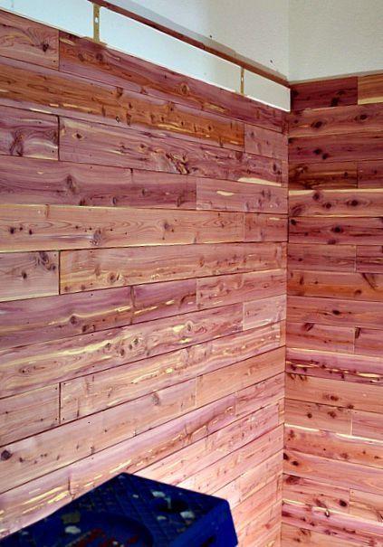 Diy Cedar Planked Closet With Built In Desk Cedar Planks Cedar Lined Closet Built In Desk