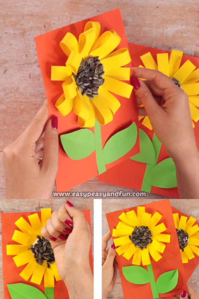 Paper Loops Sunflower Craft With Seeds #kids