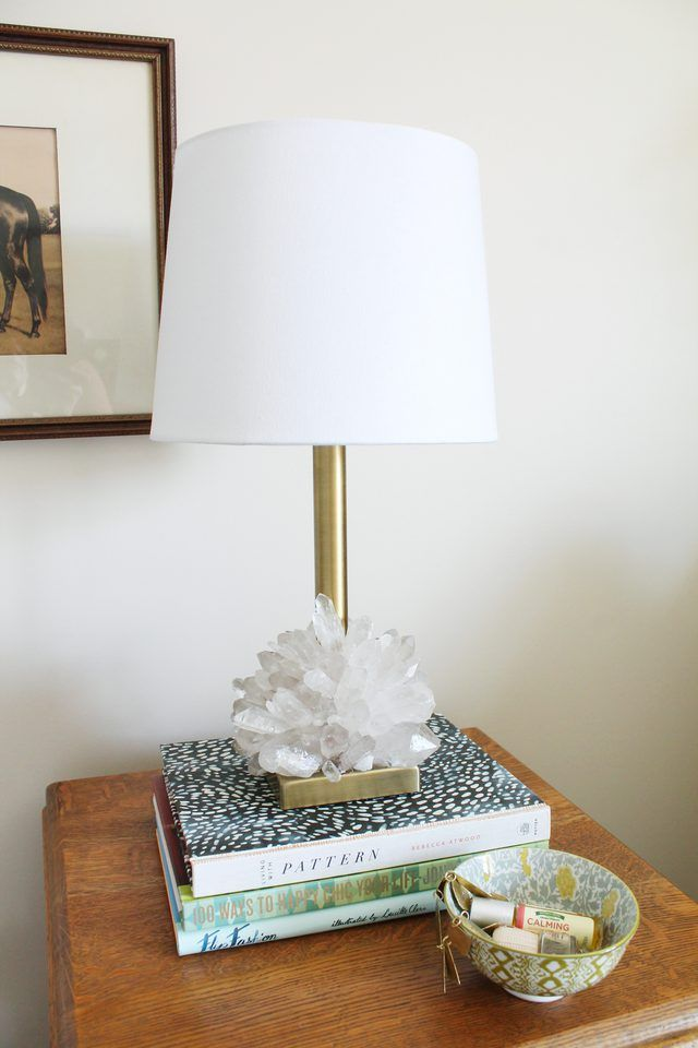 Dress Up A Plain Brass Lamp Base With Raw Crystal Points For A Textural Addition To Any Room In Your Home Diy Light Fixtures Diy Table Lamp Diy Lamp
