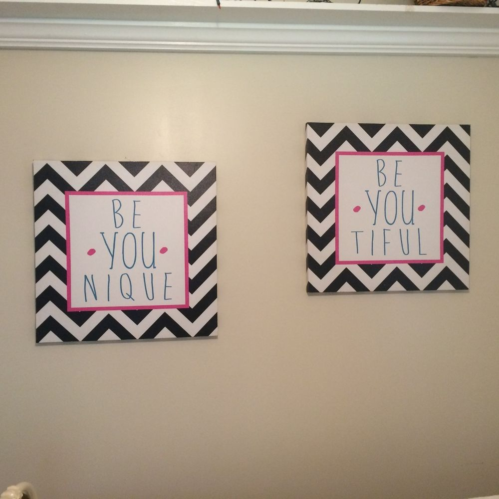 Details about canvas wall art two chevron black white signage x