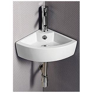 Elanti Porcelain White Wall Mounted Corner Sink 17 X 12 Inch Corner Sink Corner Sink Bathroom Sink