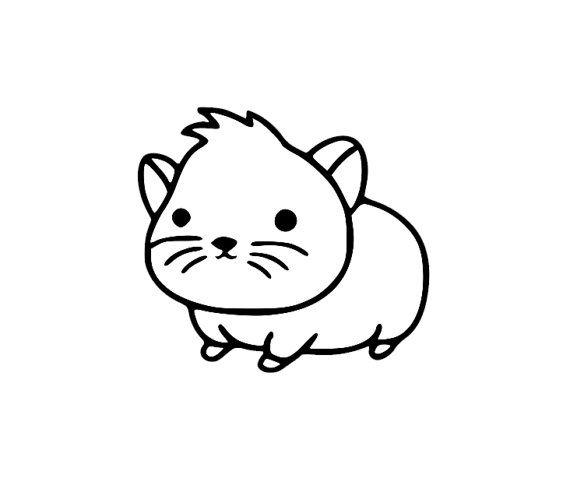 Cute Baby Hamster Cartoon Sticker - Di Cut Decal - Home/Laptop ...