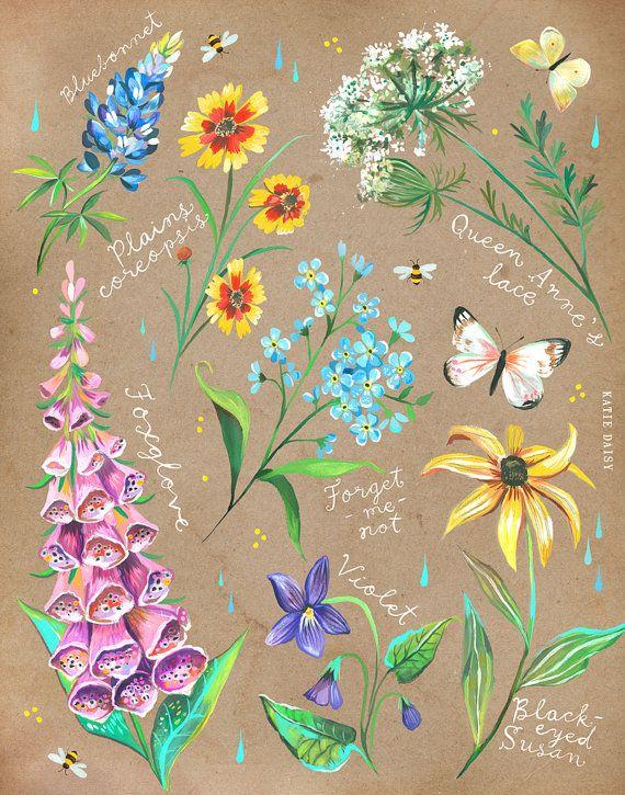 Wildblumen-Tabelle auf Kraft   Katie Daisy Kunst   Blumen Malerei   Wand Kunst   8 x 10   11 x 14 #craftsaleitems