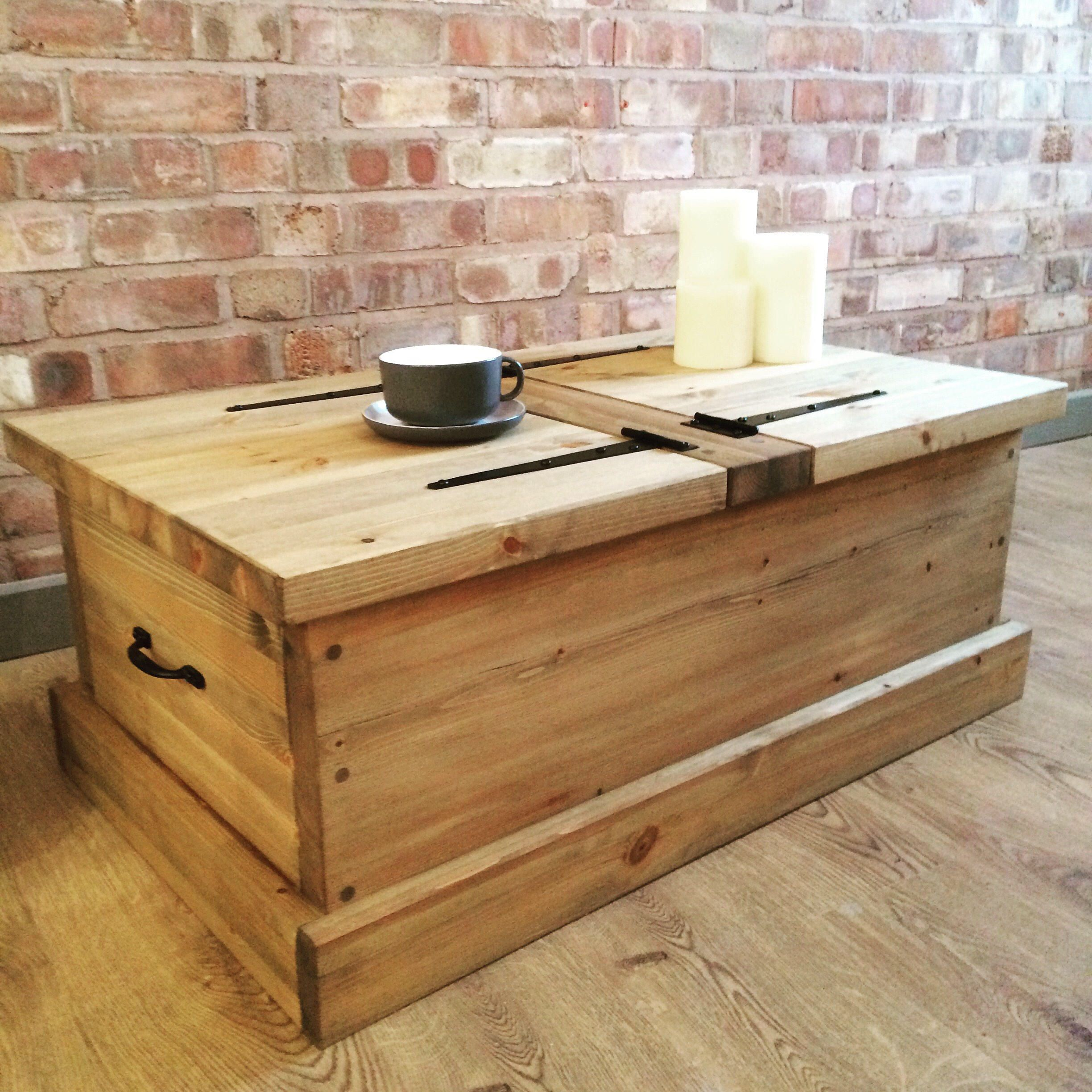 Attractive Handmade Rustic Wooden Chest Large Trunk Pine Blanket Toy Box Or Coffee  Table