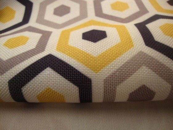 Art Deco Damask Rhombus Diamond Print Fabric Floral Curtain 140cm wide Mustard