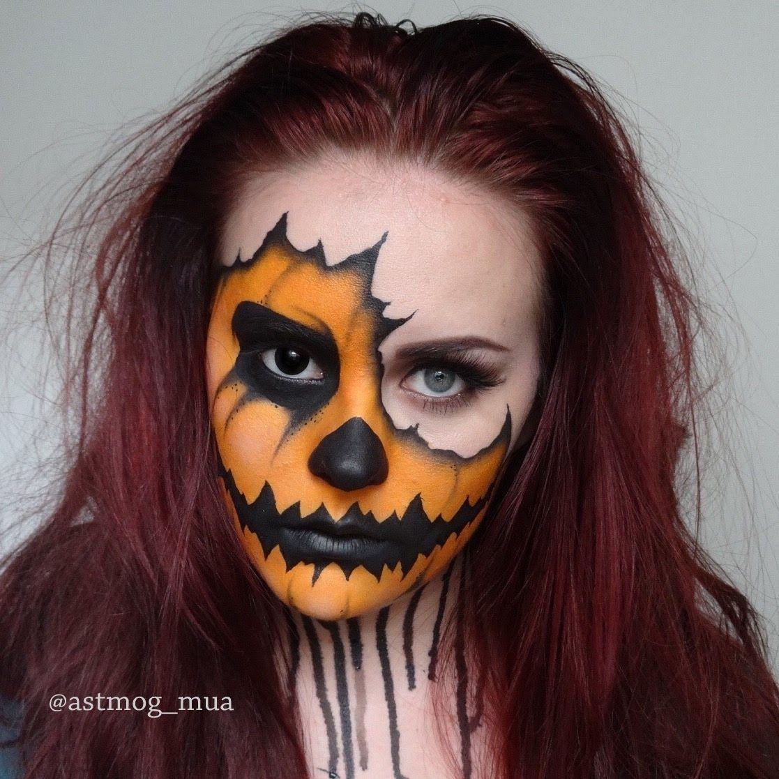 cool Torn Pumpkin. Halloween. makeup tutorial  #halloween #Halloween(Holiday) #makeup #pumpkin #torn #tutorial http://www.viralmakeup.com/torn-pumpkin-halloween-makeup-tutorial/