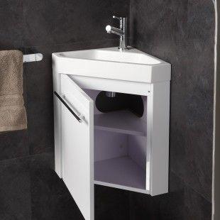 Pack Meuble Lave Mains Angle Meubles Coloris Blanc Brillant Lave Main Angle Petite Salle De Toilette Designs De Petite Salle De Bains