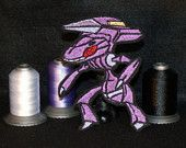 Genesect- Iron on patch - Shiny Metallic Embroidered.   Pokemon patch.