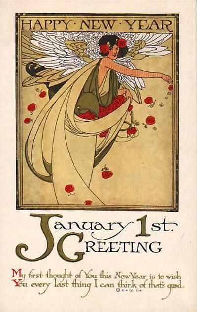 Zoe Chan On Twitter Vintage Happy New Year Vintage Cards New Year Postcard