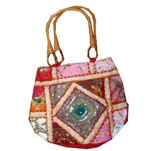 Handbag Carmine Red Sari Patchwork Beaded Designer Purse (Apparel)  http://www.amazon.com/dp/B005EQN9OE/?tag=satiyourdesi-20  B005EQN9OE