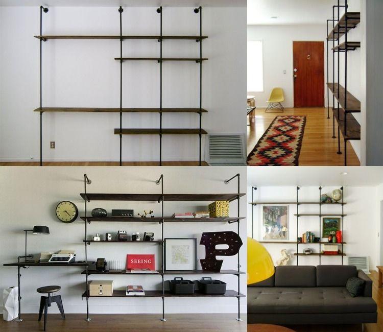 Rohrmöbel im Industrial Stil - Wohnwand selber bauen DIY Möbel - wohnwand ideen selber machen