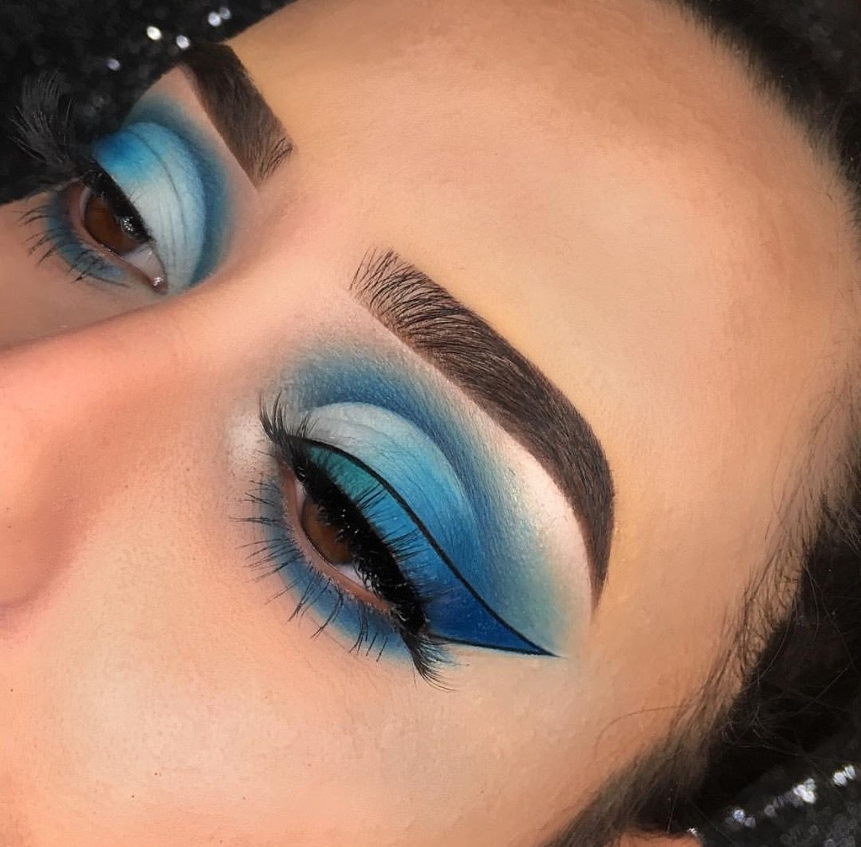 Blue white eyeshadows ombre winged liner perfect instagram
