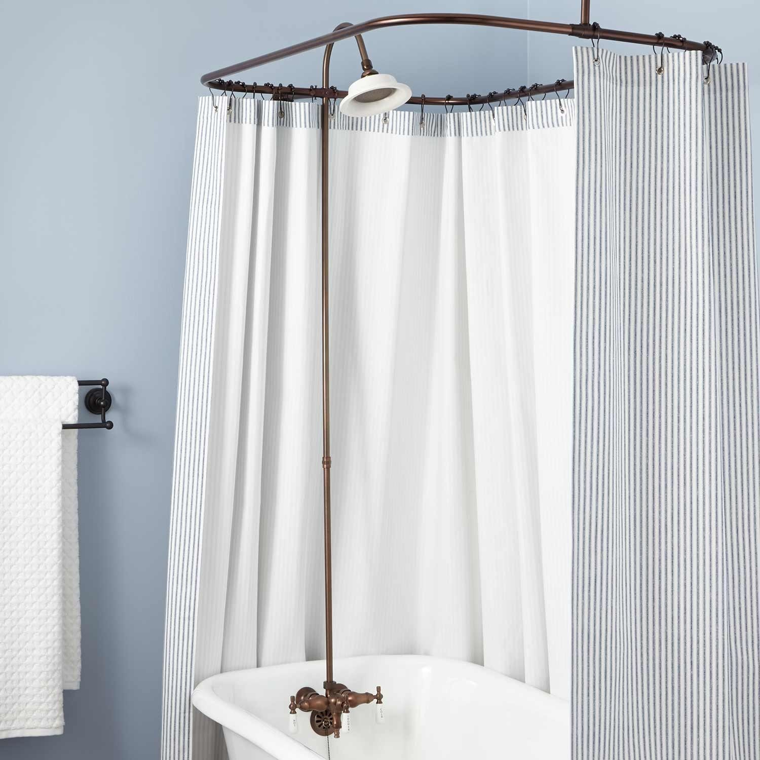 Clawfoot Tub Solid Brass Shower Conversion Kit Fabric Shower Curtains Clawfoot Tub Shower Shower Conversion