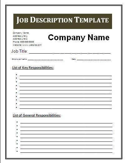 Doc444575 Job Description Word Template Job Description – Job Description Template Word