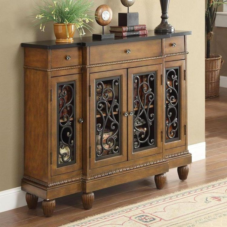 Metal Decorative Chest Accent Tables With Unique Design Brown Color Wood Material