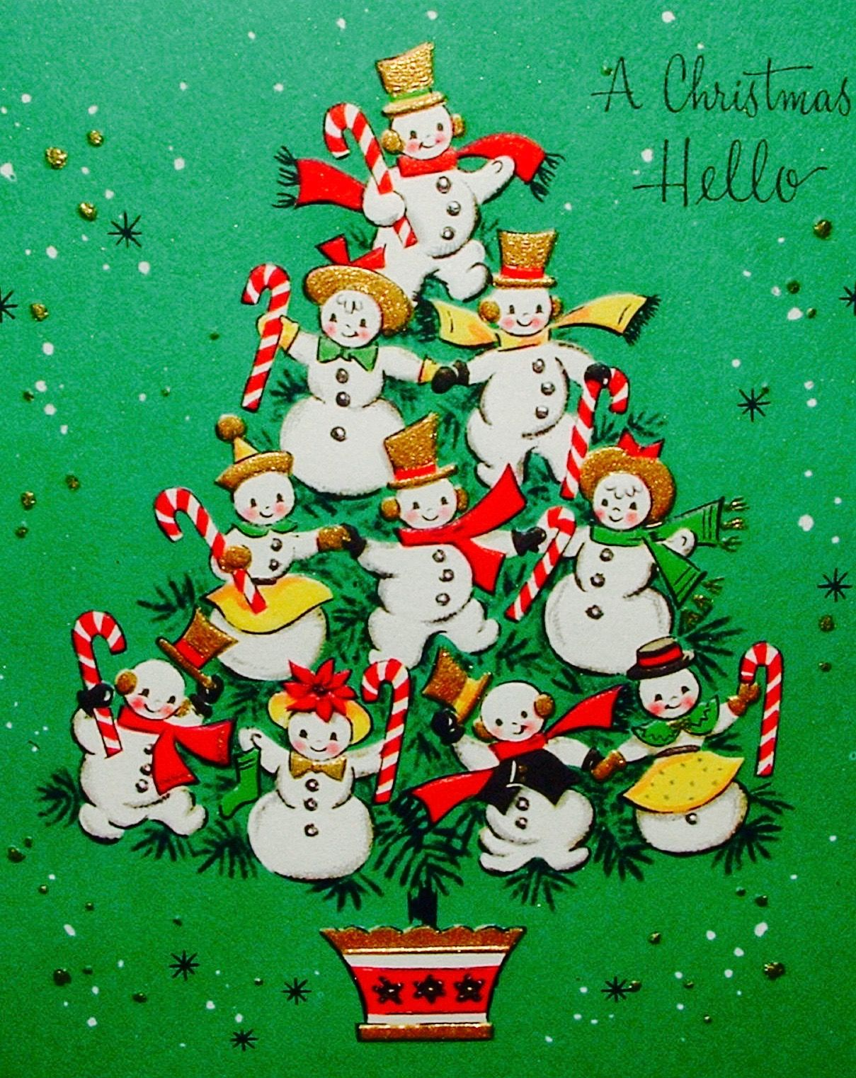 Vintage Christmas Card. Snowmen and Candy Canes. A Christmas Hello.