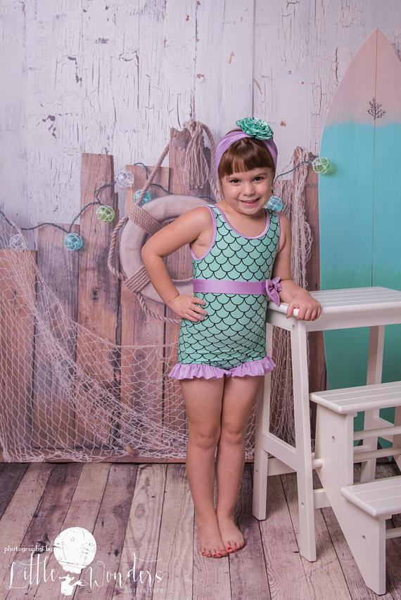 Miccina Baby Toddlers Girls One Piece Swimsuit Hawaiian Ruffle Beach Bathing Suit Kids Sunsuit