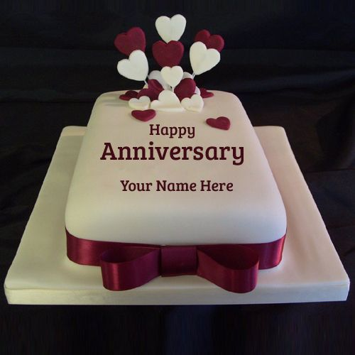 Hy Anniversary Ruby Wedding Cake With Your Name Write On Personalized Beautiful