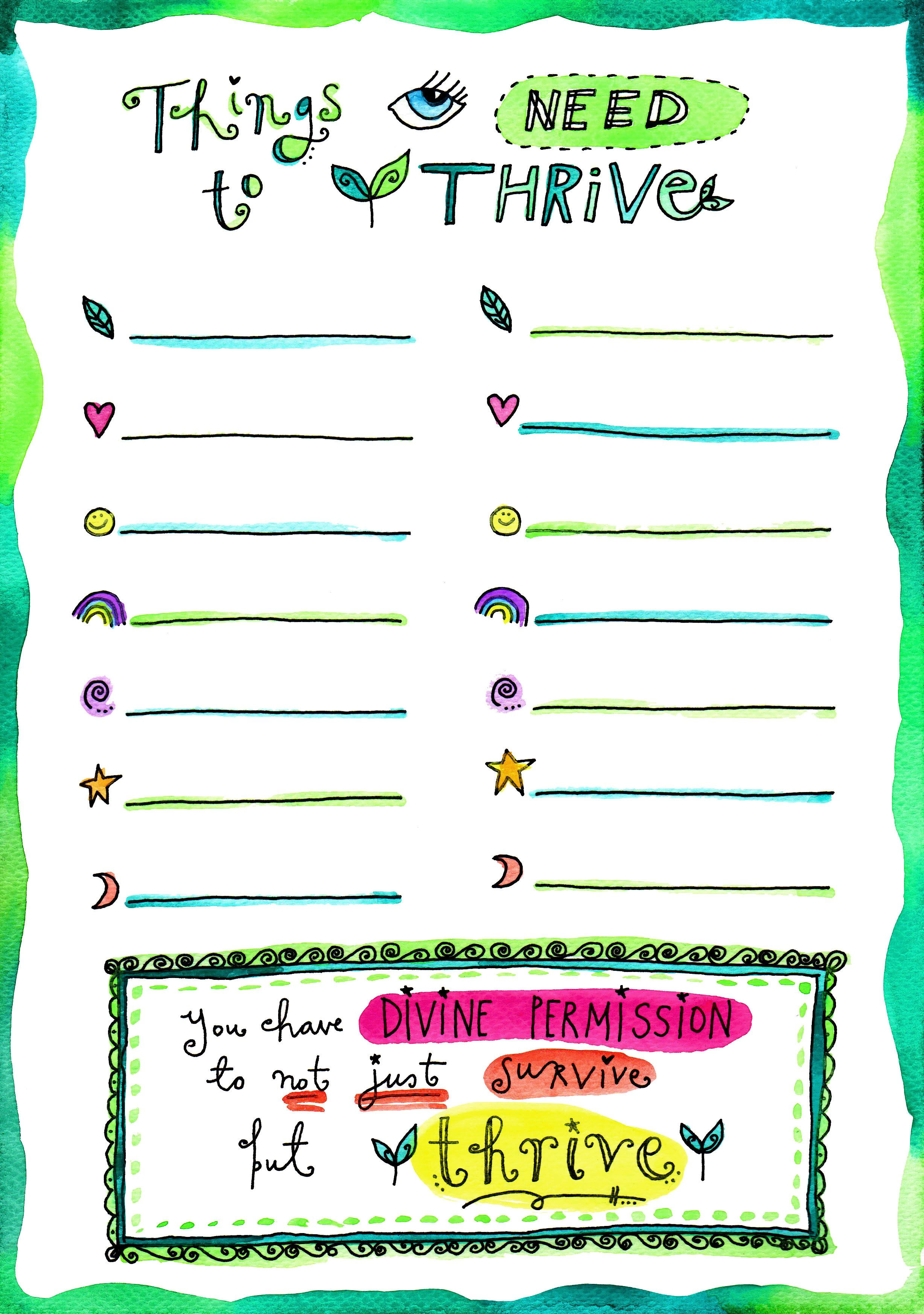 Things I Need To Thrive Blank