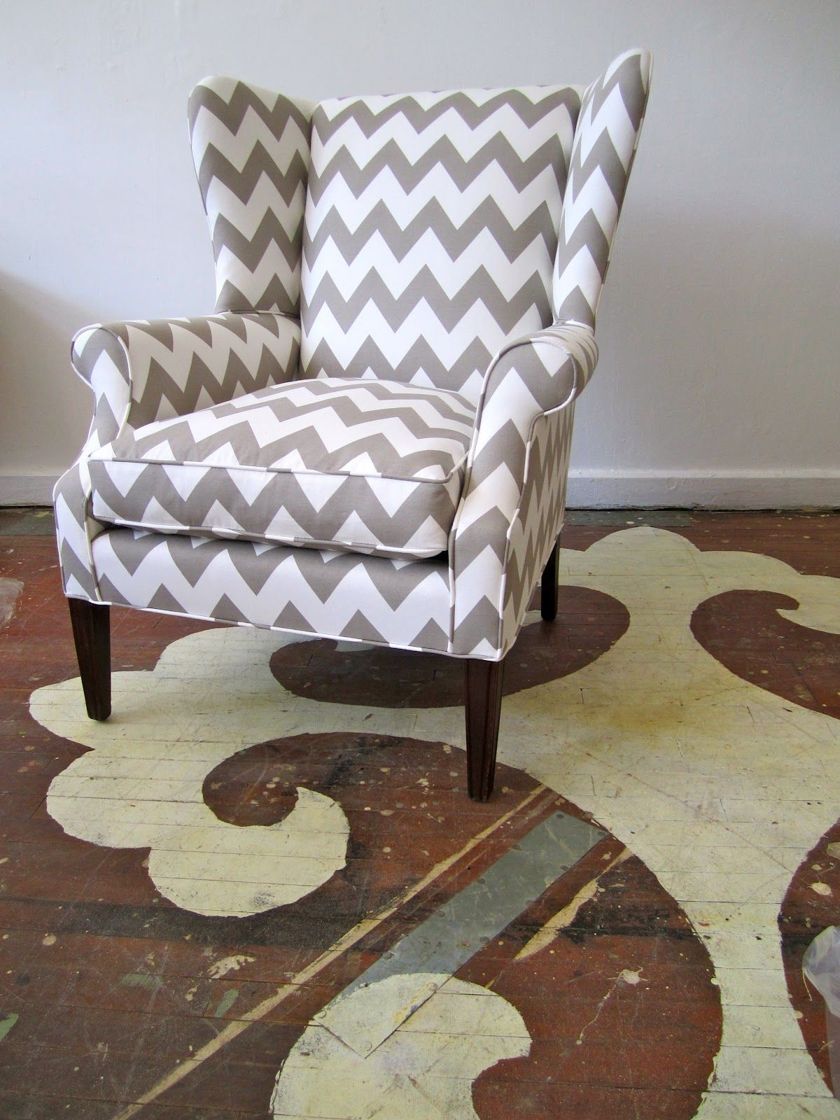Chevron wing chairs - Caitlin wilson design fabric greige zabeel chevron chair reupholstered by chairloom in philly so