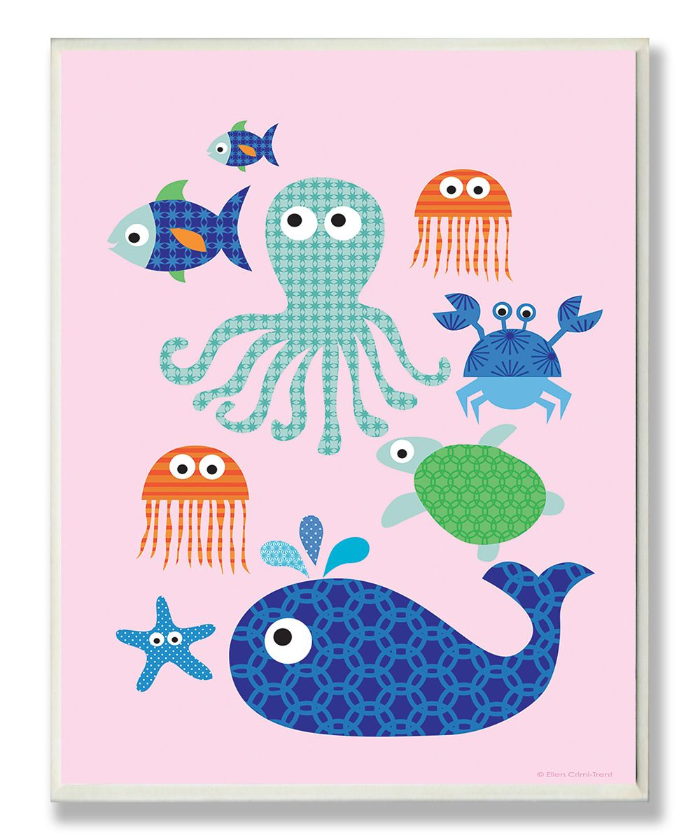 pink sea creatures wall art daily deals for moms babies on wall of moms id=20382
