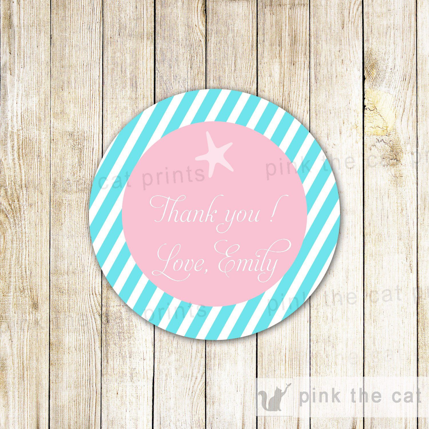 Starfish Gift Favor Tag Label Girl Birthday Party Baby Shower ...