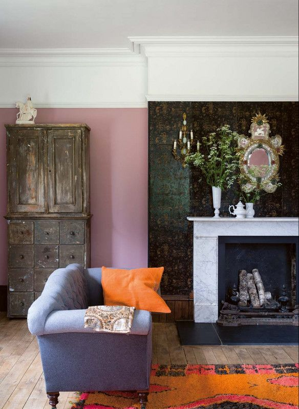 Farrow \ Ball Stilvoll wohnen mit Farbe Cinder Rose Wohnzimmer - wohnzimmer farbe orange