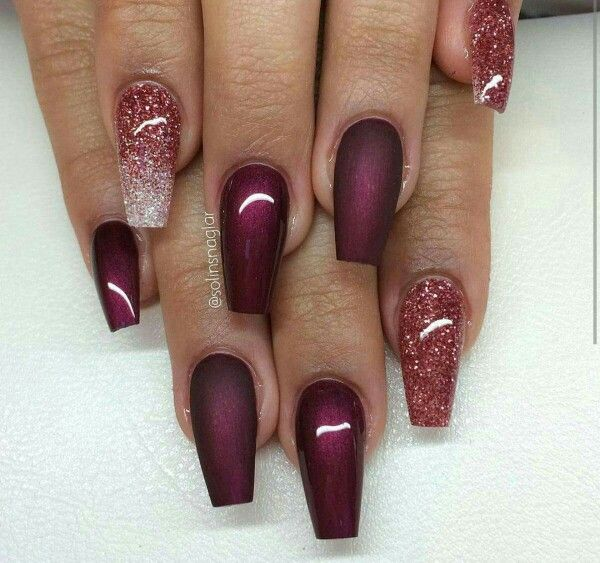 The Silver And Maroon Glitter Polish Makes A Great Combination Gives Youthful Glow To Nails Contrasting Is Dark