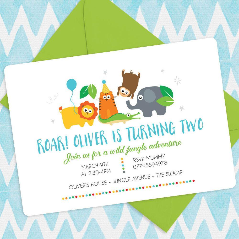 5 X Personalised SAFARI JUNGLE Animals Birthday Party Printable ...