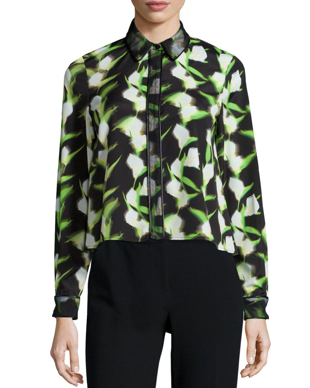ZAC Zac Posen Fabia Long-Sleeve Floral-Print Blouse, Black/White/Tennis, Women's, Size: 0, Black/White/Tenni