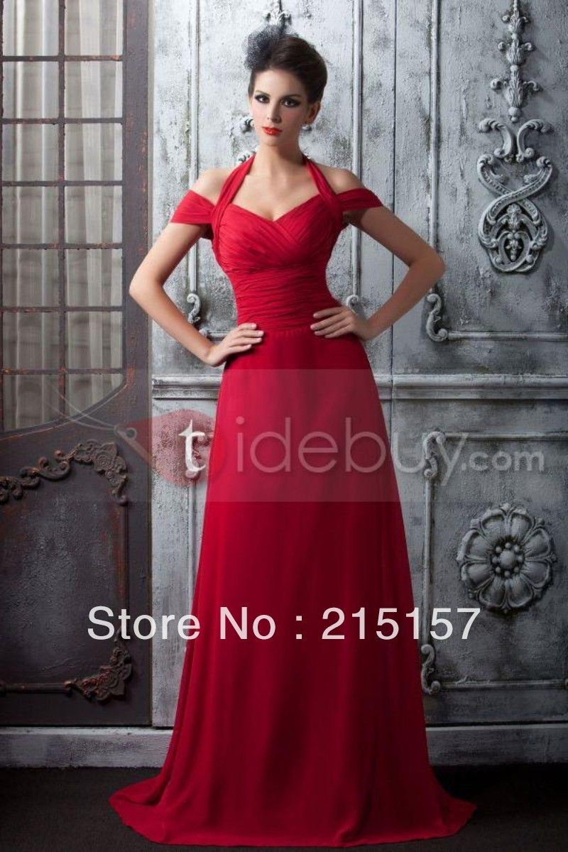 Short prom style wedding dresses  Sexy Halter Chiffon Red Pleated Offtheshoulder Floor length