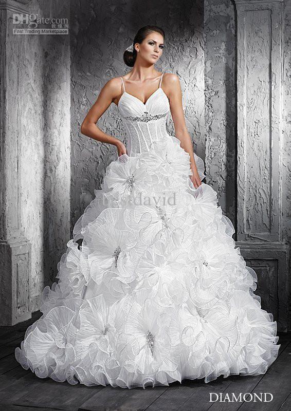 Whole Transpa Corset Wedding Dress Diamond Ball Gown Spaghetti Ruffled Organza Crystal Chapel Train Free Shipping 224 0 257 6 Piece Dhgate