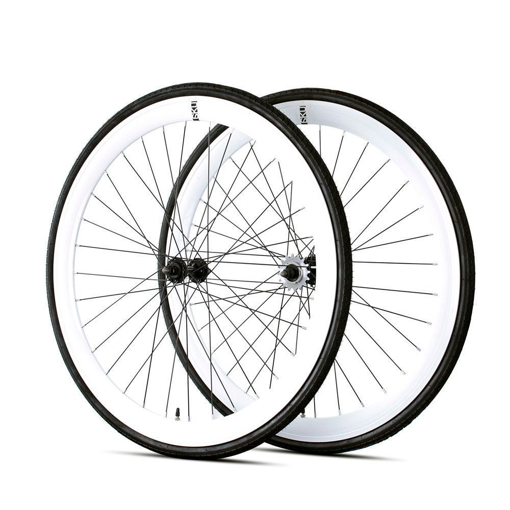 6KU Deep V Fixed Gear Matte Black Flip Hub Wheelset