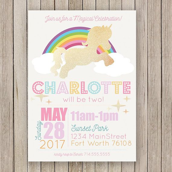 Unicorn Birthday Party Invitation Rainbow Girls Party Invitations