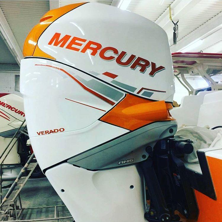 Mercury verado in custom orange and white paint for Custom outboard motor decals