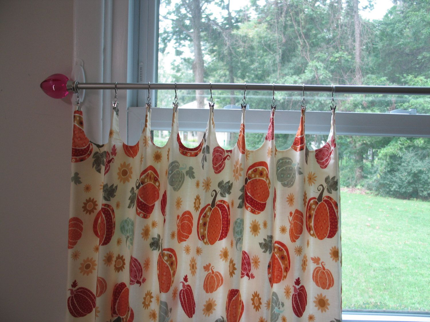 Thanksgiving Curtains Cafe Curtains Kitchen Curtains Pumpkins Scalloped Pair Kitchen Curtains Cafe Curtains Cafe Curtains Kitchen