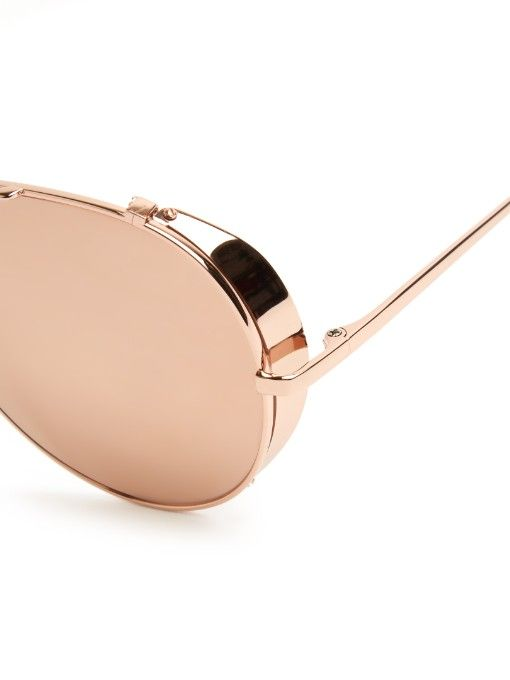 dfa015e4e443 Linda Farrow Rose gold-plated mirrored aviators Visit Linda Farrow at The  Suites at  VisionExpoWest 2016!