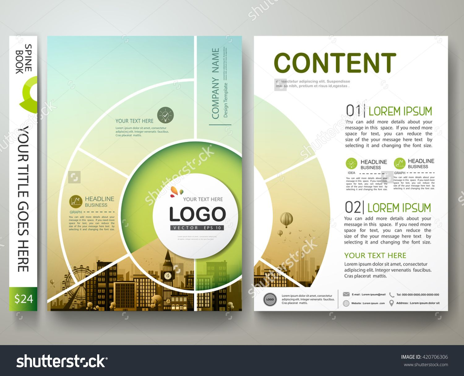 circle brochure template - brochure design template vector flyers report business