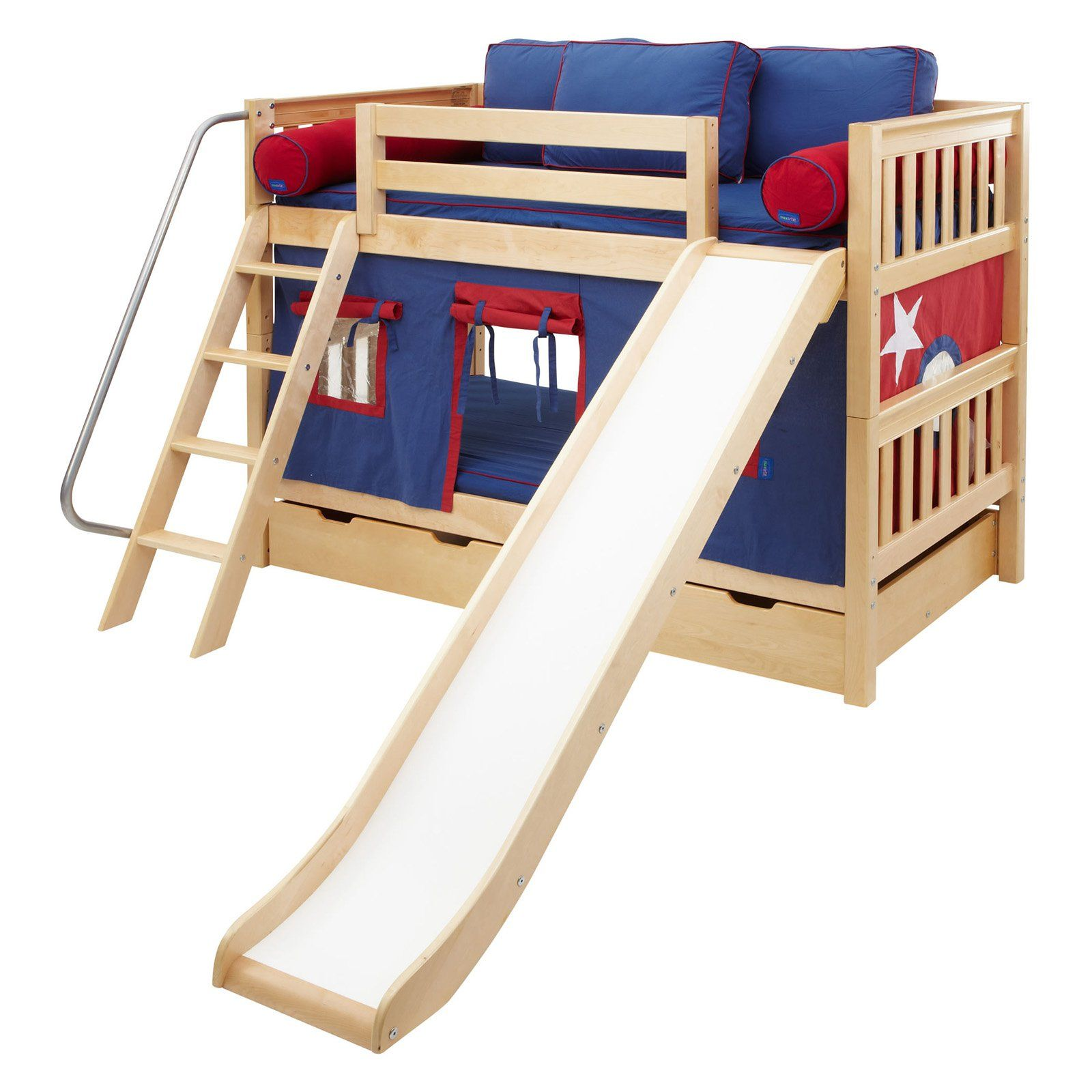 Twin low loft bed with slide  Laugh Boy Twin over Twin Slat Slide Tent Bunk Bed  Active little