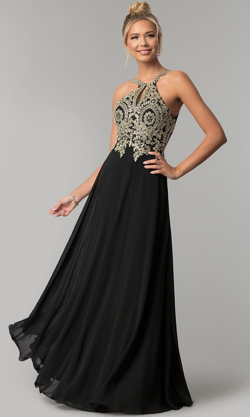 Gold and Black Chiffon Prom Dresses
