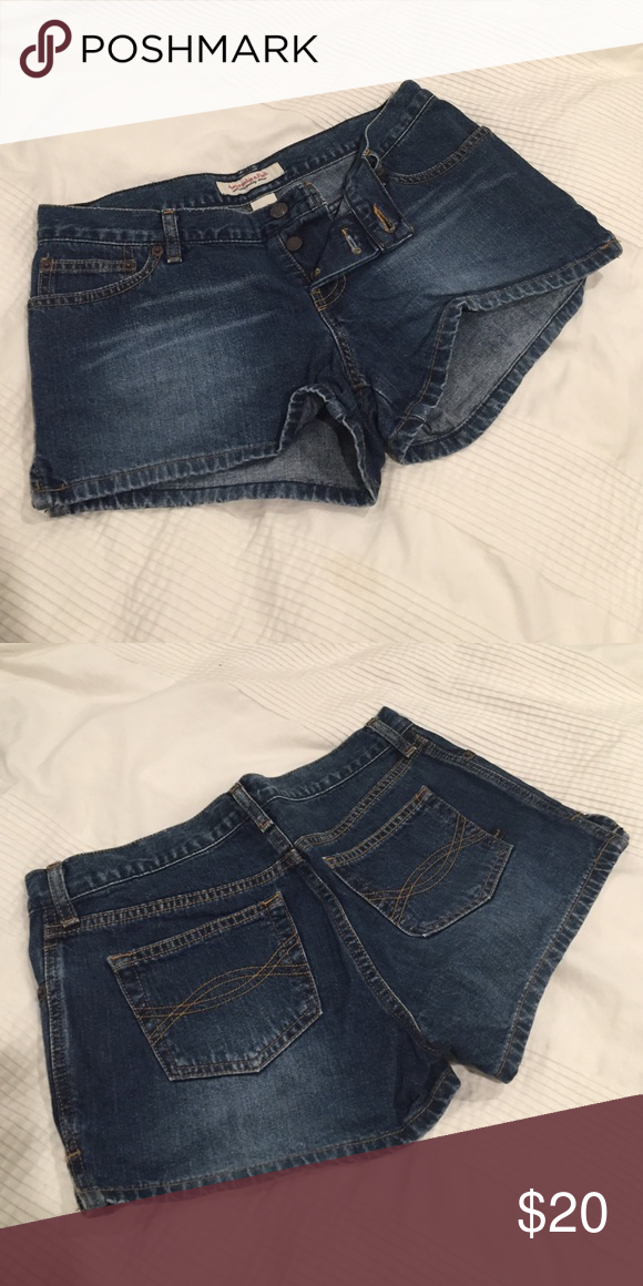Abercrombie button fly denim shorts! Never worn Abercrombie denim shorts. Button fly, blue denim. In good condition. Abercrombie & Fitch Shorts Jean Shorts