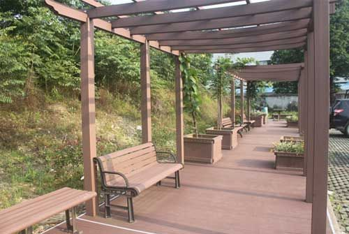 Backless Park Bench Outdoor Pergola Deck With Pergola